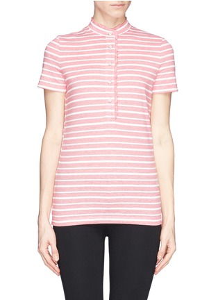Main View - Click To Enlarge - Tory Burch - 'Lidia' ruffle trim stripe polo shirt
