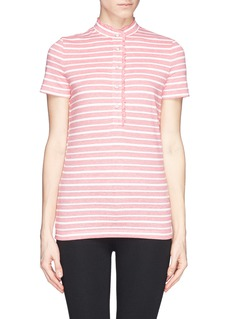 TORY BURCH'Lidia' ruffle trim stripe polo shirt