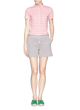 Figure View - Click To Enlarge - Tory Burch - 'Lidia' ruffle trim stripe polo shirt