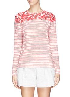 TORY BURCH'Addison' leaf stripe long sleeve T-shirt