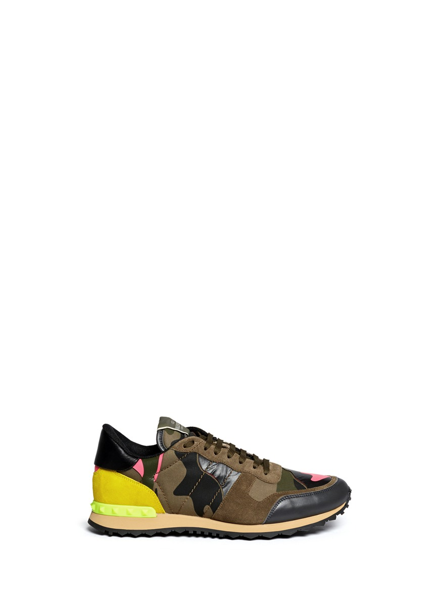 Studded camouflage sneakers