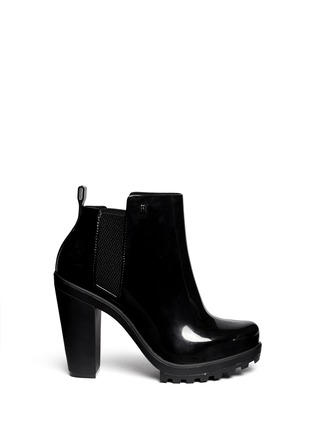 Main View - Click To Enlarge - Melissa - 'Soldier' matte heel glossy rubber Chelsea boots