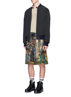 Dries Van Noten Floral and camouflage print patchwork shorts