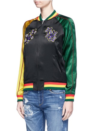Detail View - Click To Enlarge - Opening Ceremony - Global Varsity reversible jacket – Jamaica and United States
