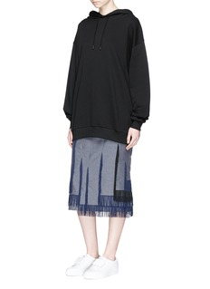 FACETASMAsymmetric fringe hopsack skirt
