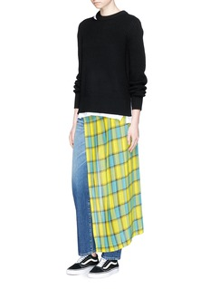 FACETASM Pleated check overlay jeans