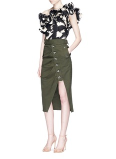 Johanna Ortiz'Macau' one-shoulder ruffled floral cotton top