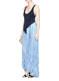 Galvan London'Carmen' asymmetric fringe maxi bodycon dress