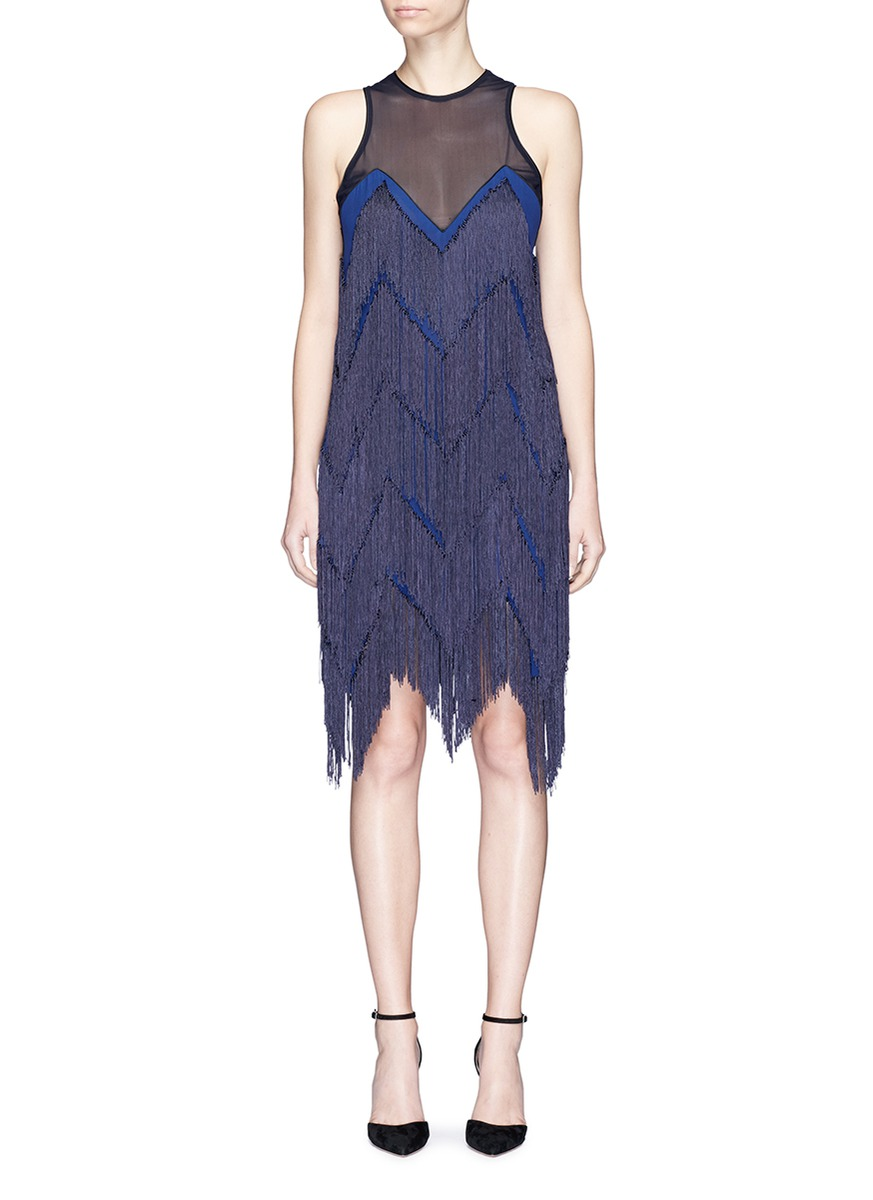 Feria zigzag fringe silk georgette cocktail dress by Galvan London