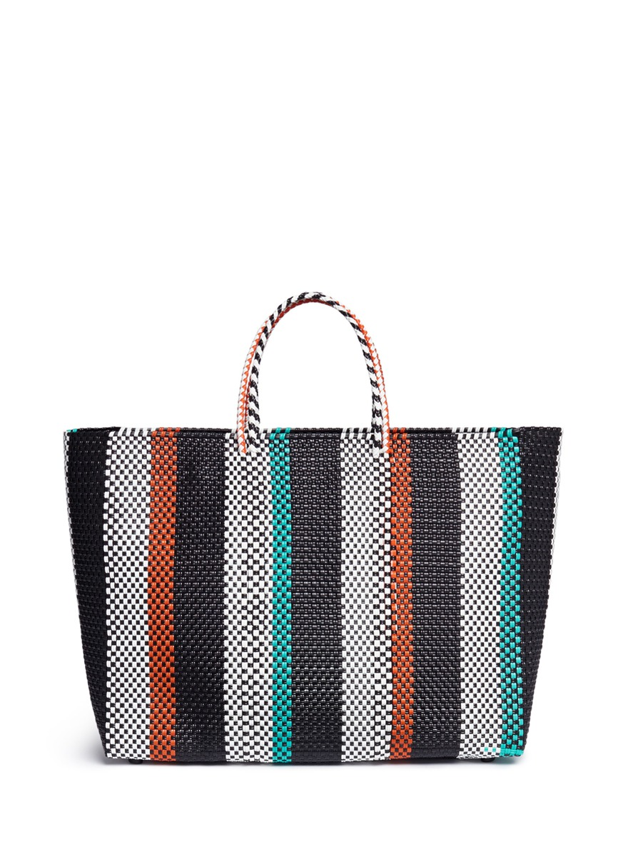 Large woven stripe PVC tote by Truss