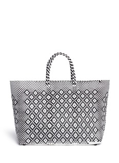 Truss Large woven geometric diamond PVC tote