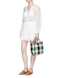Truss Small woven plaid PVC shoulder bag