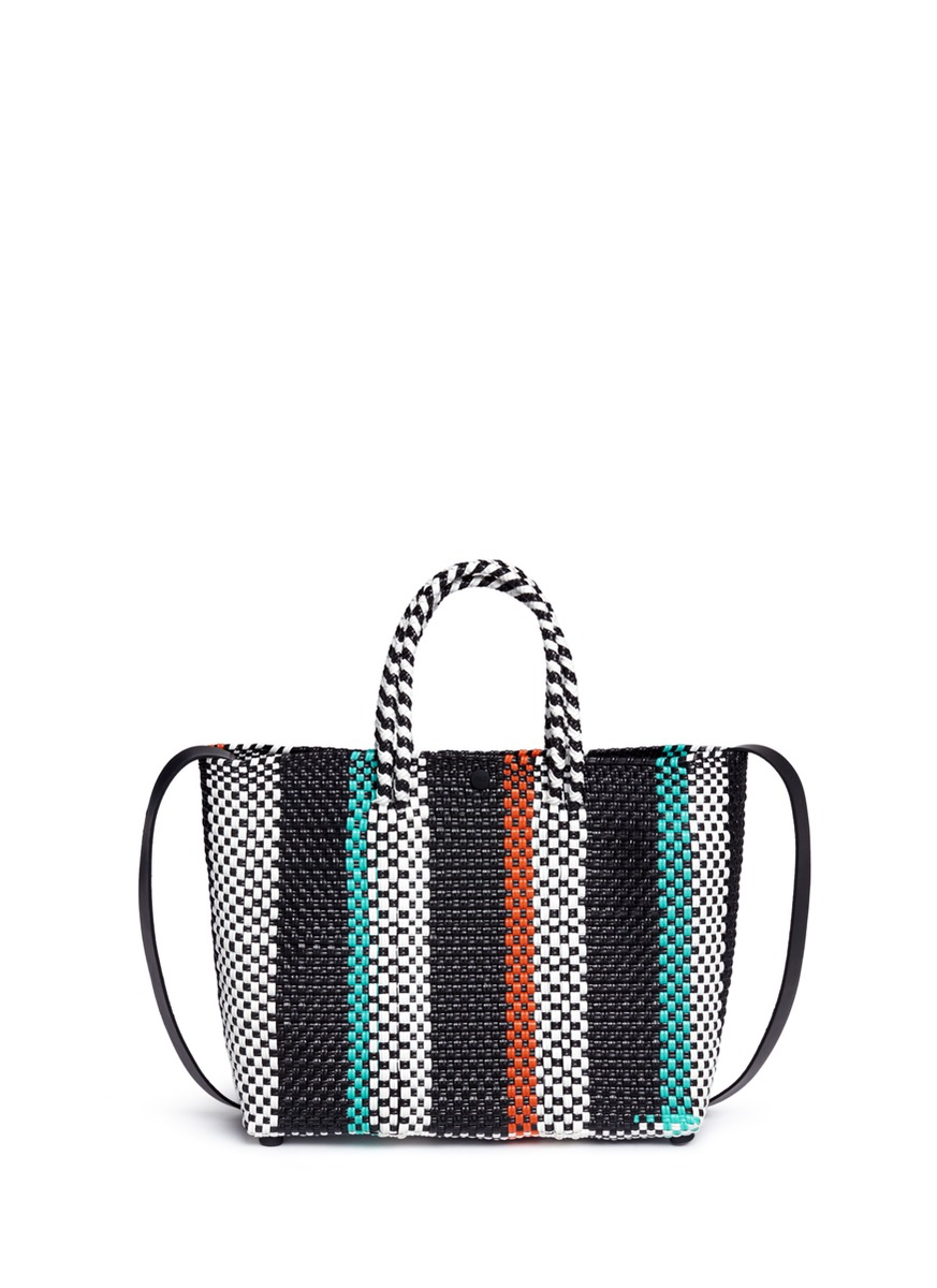 Small woven stripe PVC shoulder bag by Truss
