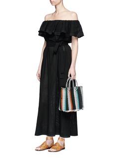TrussSmall woven stripe PVC shoulder bag