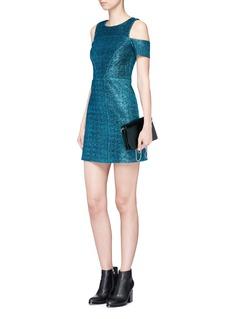 TopshopMetallic tinsel cold shoulder dress