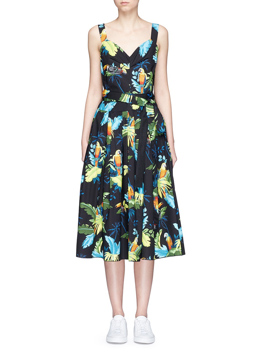 marc jacobs female parrot print corset top belted dress