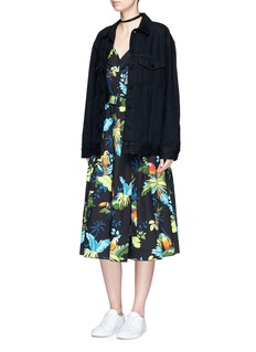 Marc Jacobs Parrot print corset top belted dress