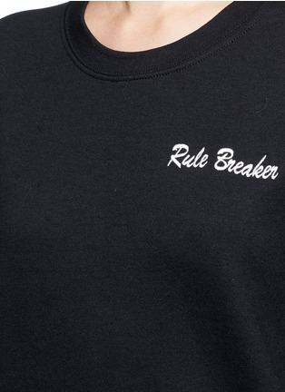 Detail View - Click To Enlarge - DOUBLE TROUBLE - 'Rule Breaker' slogan embroidered fleece sweatshirt