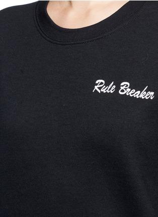 Detail View - Click To Enlarge - DOUBLE TROUBLE - 'Rule Breaker' slogan embroidered fleece sweatshirt