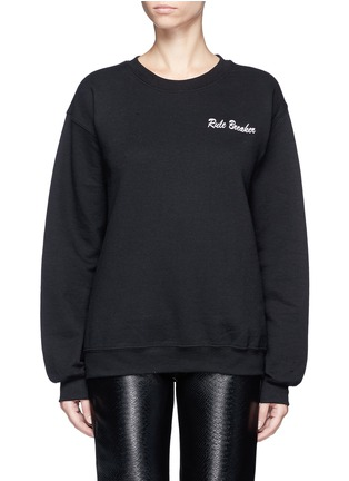 Main View - Click To Enlarge - DOUBLE TROUBLE - 'Rule Breaker' slogan embroidered fleece sweatshirt
