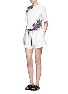 3.1 Phillip Lim Floral embroidered silk patch cutout T-shirt