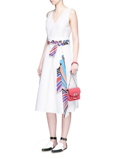 Emilio Pucci'Vortici' paperbag waist stripe scarf belt dress