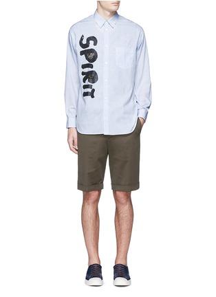 Figure View - Click To Enlarge - Comme Des Garçons Shirt - 'Spirit' cutout print stripe shirt