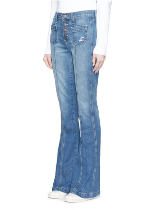 Front View - Click To Enlarge - Current/Elliott - 'The Judy Flare' high waist distressed denim pants