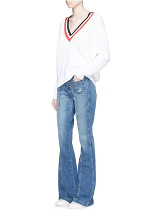 Figure View - Click To Enlarge - Current/Elliott - 'The Judy Flare' high waist distressed denim pants