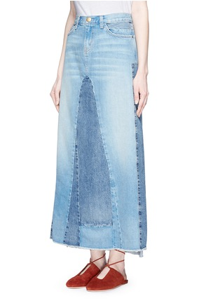Front View - Click To Enlarge - Current/Elliott - 'The Reconstructed' denim maxi skirt