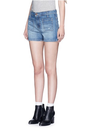 Front View - Click To Enlarge - Current/Elliott - 'The Westward' high waist distressed denim shorts