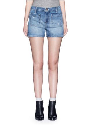 Main View - Click To Enlarge - Current/Elliott - 'The Westward' high waist distressed denim shorts