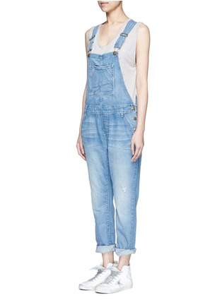Front View - Click To Enlarge - Current/Elliott - 'The Charley' distressed denim overalls
