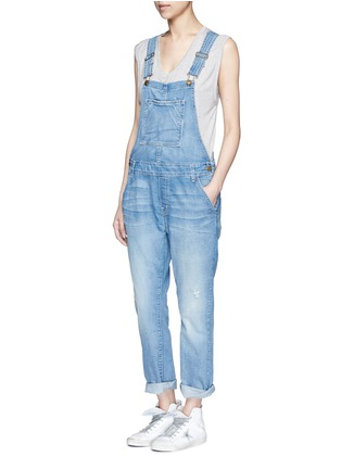 Figure View - Click To Enlarge - Current/Elliott - 'The Charley' distressed denim overalls