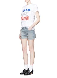 CURRENT/ELLIOTT'The Boyfriend™' stripe rolled cuff shorts