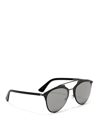 Figure View - Click To Enlarge - Dior - 'Reflected' acetate temple metal veneer aviator sunglasses