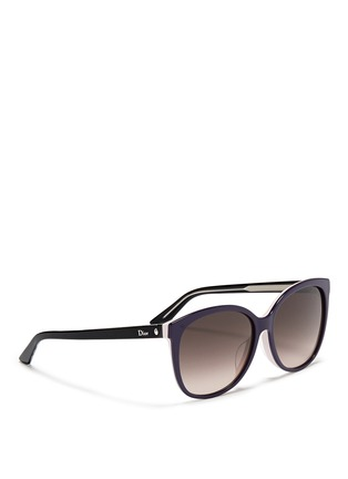 Figure View - Click To Enlarge - Dior - 'Montaigne' colourblock acetate oversize butterfly sunglasses