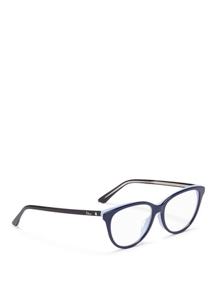 Figure View - Click To Enlarge - Dior - 'Montaigne' colourblock acetate cat eye optical glasses