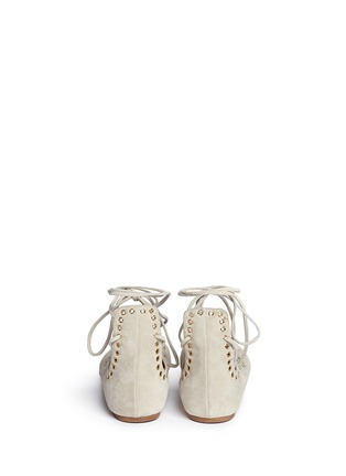 Back View - Click To Enlarge - Isabel Marant - 'Leo' grommet suede lace-up ballet flats
