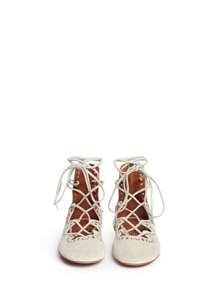 Front View - Click To Enlarge - Isabel Marant - 'Leo' grommet suede lace-up ballet flats