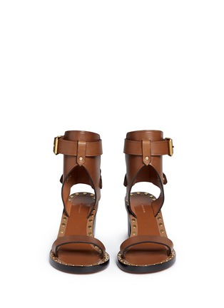 Front View - Click To Enlarge - Isabel Marant - 'Jaeryn' rivet leather sandal boots