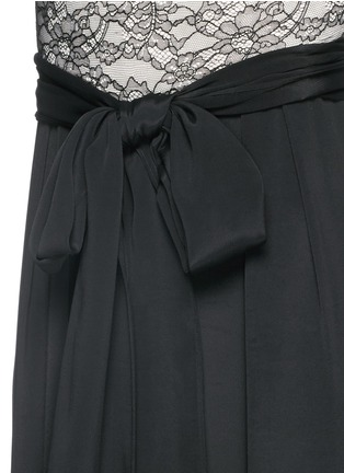 Detail View - Click To Enlarge - alice + olivia - 'Rona' floral lace bodice jumpsuit