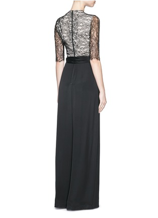 Back View - Click To Enlarge - alice + olivia - 'Rona' floral lace bodice jumpsuit