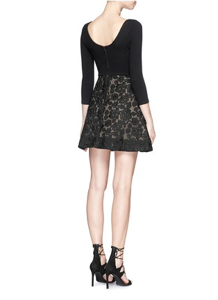 Back View - Click To Enlarge - alice + olivia - 'Amie' floral lace skirt stretch dress