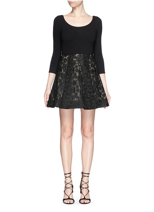 Main View - Click To Enlarge - alice + olivia - 'Amie' floral lace skirt stretch dress