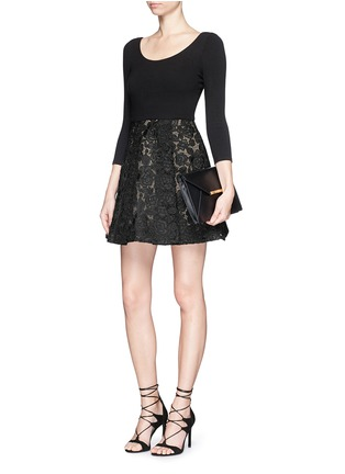 Figure View - Click To Enlarge - alice + olivia - 'Amie' floral lace skirt stretch dress