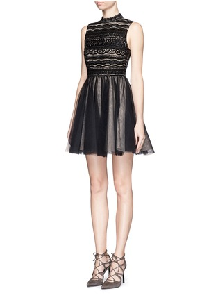 Front View - Click To Enlarge - alice + olivia - 'Taya' embellished bodice tulle dress