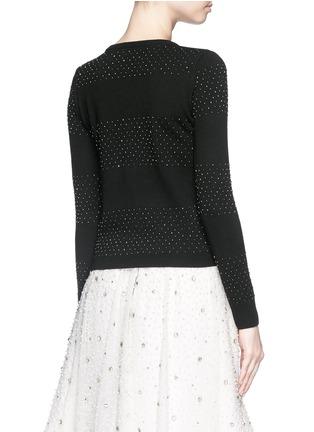 ALICE + OLIVIA-珠饰条纹羊毛针织外套