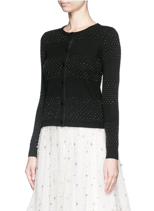 正面 -点击放大 - ALICE + OLIVIA - 珠饰条纹羊毛针织外套