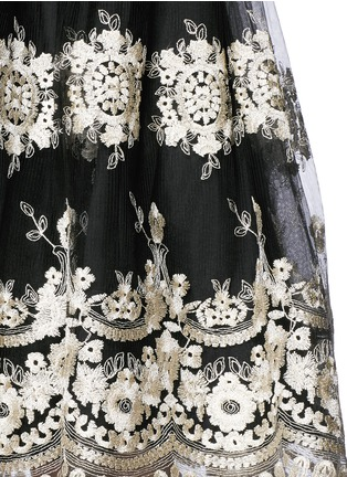 Detail View - Click To Enlarge - alice + olivia - 'Justina' metallic embroidery tulle flare skirt